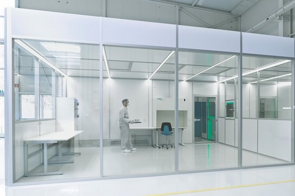 A worker in a cleanroom