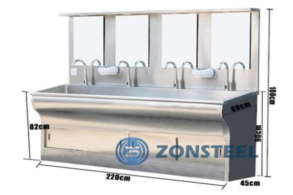 Auto Stainless Steel Basin 4 Faucets