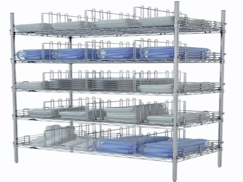 A Cleanroom Rack Loaded with Items