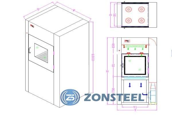 Air Shower Pass Box Diagram